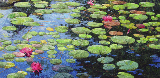 WATER LILIES -  Fabric Collage Art